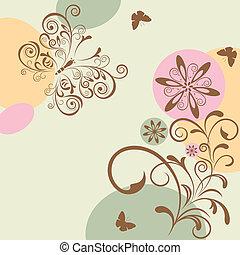resumen, floral, y, mariposa