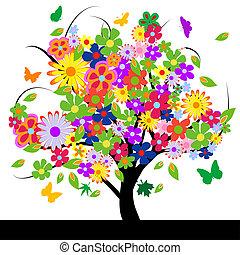 resumen, flores, árbol