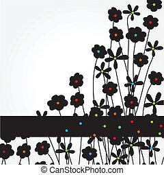 resumen, flores, fondo negro