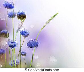 resumen, flores, frontera, diseño