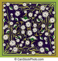 resumen, flores, grunge, ilustración