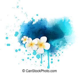 resumen, flores, plumeria, plano de fondo