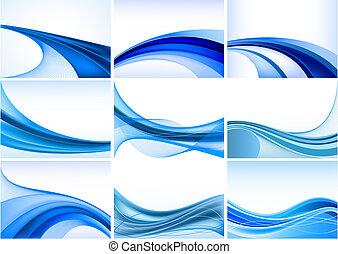 resumen, fondo azul, vector, conjunto