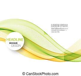 resumen, fondo., diseño, plantilla, ondas, folleto, ahumado