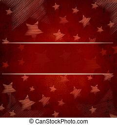 resumen, fondo rojo, con, estrellas, y, texto, espacio