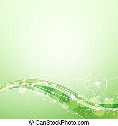 resumen, fondo verde, con, fluir, líneas, y, chispea