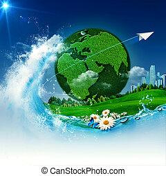 resumen, fondos, ambiental, verde, diseño, earth., su