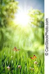 resumen, fondos, ambiental, verde, diseño, su, mundo