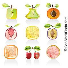 resumen, fruta, iconos