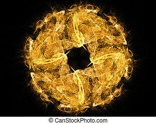 resumen, fuego, círculo