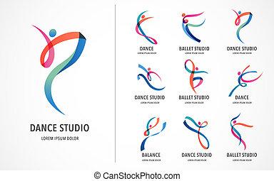resumen, gente, logotipo, design., gimnasio, condición física, corriente, entrenador, vector, colorido, logo., activo, condición física, deporte, baile, tela, icono, y, símbolo