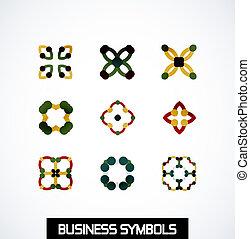 resumen, geométrico, empresa / negocio, symbols., icono, conjunto