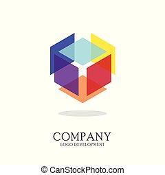 resumen, geométrico, logotipo, diseño