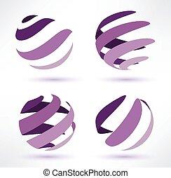 resumen, globo, conjunto, de, 3d, iconos
