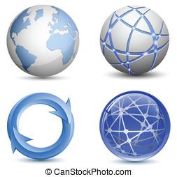 resumen, globo, iconos, conjunto