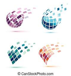 resumen, globo, iconos, empresa / negocio, y, comunication, concepto