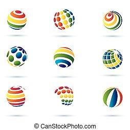 resumen, globo, multicolor, iconos
