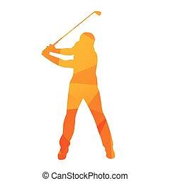 resumen, golfista, silueta