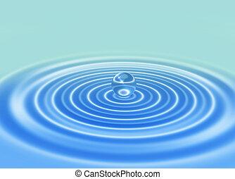 resumen, gota agua, en, onda, agua, plano de fondo