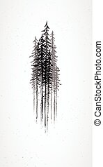 resumen, grunge, árboles