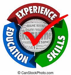 resumen, habilidades, flechas, experiencia, marca, círculo, educación, cheque