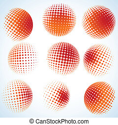resumen, halftone, círculo, design., eps, 8