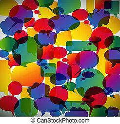 resumen, hecho, discurso, burbujas, plano de fondo