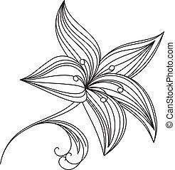 resumen, hermoso, flor, de, lirio