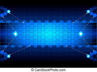 resumen, hexágono, azul, tecnología
