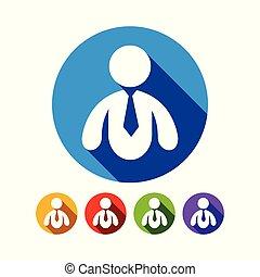 resumen, hombre de negocios, plano, gráfico, icono, diseño determinado
