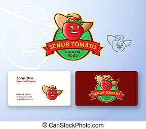 resumen, hombre sonriente, logotipo, template., cara, prima, arriba., divertido, alimento, tarjeta, hat., bigote, empresa / negocio, emblem., realista, español, vector, inmóvil, simulado, senor, tomate, vegetal