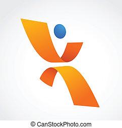 resumen, humano, icono, naranja, y azul, colores