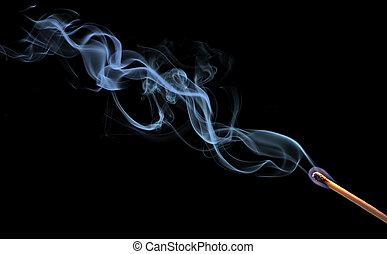 resumen, humo, en, fondo negro