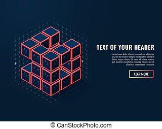 resumen, icono, de, digital, cubos, concepto, de, compilación, de, un, software, producto, isométrico, vector