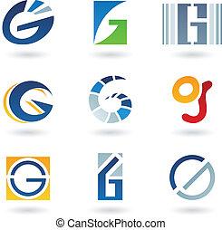 resumen, iconos, para, carta g