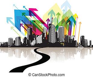 resumen, ilustración, con, city.