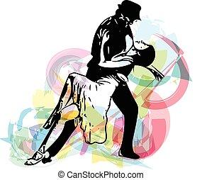 resumen, ilustración, de, latino, bailando, pareja
