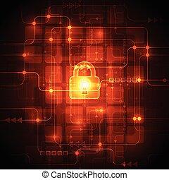 resumen, ilustración, fondo., vector, digital, seguridad, tecnología