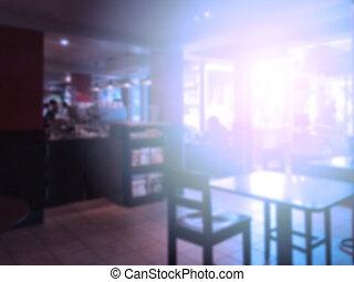 resumen, imagen borrosa, de, tienda de café, uso, para, plano de fondo