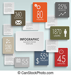 resumen, infographic, rectángulos, plantilla