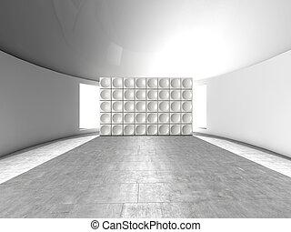 resumen, interior, futurista, interior, con, acústico, pared