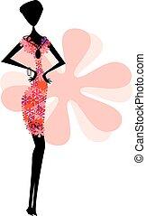 resumen, invitación, elegante, diseño, retro, florido, floral, tarjeta