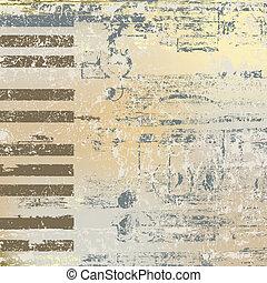 resumen, jazz, plano de fondo, teclas de piano, en, beige