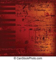 resumen, jazz, plano de fondo, teclas de piano, en, rojo