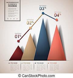 resumen, línea, y, triángulo, gráfico, infographics
