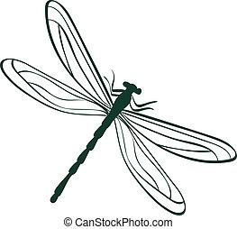 resumen, libélula, vector, ilustración