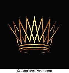 resumen, logotipo, vector., dorado, diseño, corona