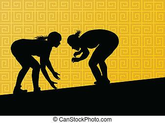 resumen, lucha, joven, ilustración, griego, romano, vector,...