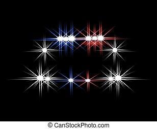 resumen, luz, effects., patrullero, por la noche, con, luces, en, front., ilustración