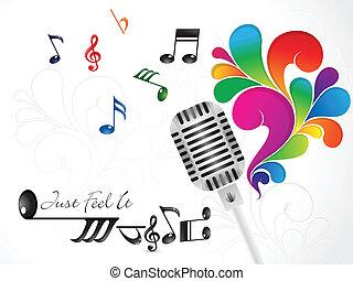 resumen, música, papel pintado, con, mic